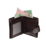 Brown wallet with money Royalty Free Stock Photography