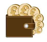 Brown  wallet with pound sterling coins. On a white background , currency in the wallet,sign and symbol currency in the form of coins,design concept color Royalty Free Stock Image