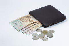 Brown wallet with Thai banknote and coins Royalty Free Stock Images