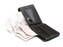 Brown wallet with Thai Paper Currency Royalty Free Stock Images