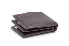 Brown wallet  on white background. Royalty Free Stock Images