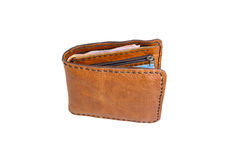 Brown wallet on white background. Stock Images