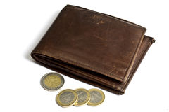 Brown Wallet With Coins Isolated On White Royalty Free Stock Photo