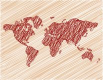 Brown wallpaper with world map royalty free stock photography