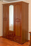 Brown wardrobe with mirror Royalty Free Stock Image