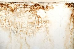 Brown water stain and bulge on plaster wall in the house. Brown water stain and bulge on plaster wall. Water stain on house wall royalty free stock photography