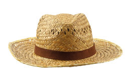 Brown weave hat isolated on white. Brown weave hat - summer accessory isolated on white background Royalty Free Stock Photography