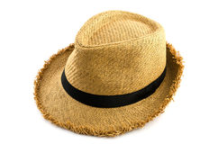 Brown weaving hat isolated on white Royalty Free Stock Images
