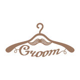 Brown wedding hangers for groom Royalty Free Stock Images