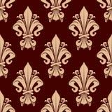 Brown-Weinleselilien-Blumenmuster Lizenzfreies Stockfoto