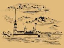 Brown wektorowa r?ka rysuje ST Petersburg 6 ilustracji