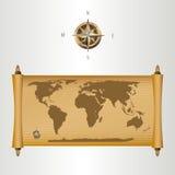 Brown-Weltkarte auf papirus mit Goldfülle und einer Co Lizenzfreies Stockbild
