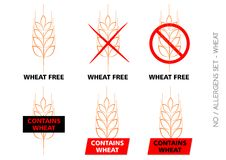 Brown Wheat Free Signs on white background Royalty Free Stock Images