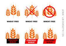 Brown Wheat Free Signs on white background Royalty Free Stock Photography