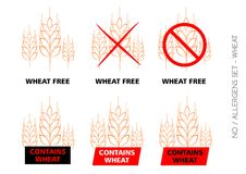 Brown Wheat Free Signs on white background Stock Photos
