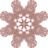 Brown and white abstract circular pattern mandala. Stock Photos
