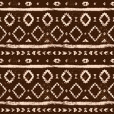 Brown and white aged geometric aztec grunge seamless pattern, vector. Background Stock Photo