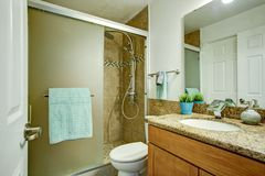Clean minimal bathroom interior stock photo