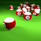 Brown white billiard balls number fifteen. And night life Stock Images
