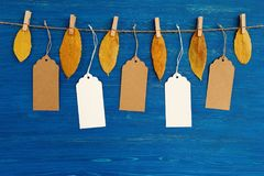 Brown and white blank paper price tags or labels set hanging on a rope with dry yellow autumn leaves on the blue wooden background. Five brown and white blank stock photos