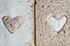 Brown and White Bread Hearts Royalty Free Stock Photography