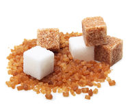 Brown and white cane sugar cubes Stock Photos