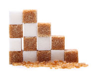 Brown and white cane sugar cubes. Stock Images