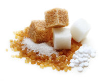 Brown and white cane sugar cubes Stock Photography