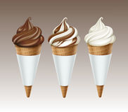Brown White Chocolate Ice Cream Waffle Isolated Stock Photo