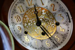 Brown and White Clock 12 30 Stock Image