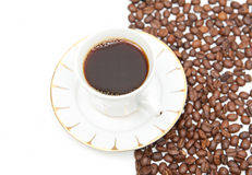 Brown white coffe. Cup of coffe with brown-white background Royalty Free Stock Photos