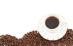 Brown white coffe. Cup of coffe with brown-white background Stock Photos