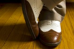 Brown and White Dance Shoes Royalty Free Stock Image
