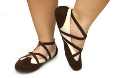 Brown and white dance shoes Royalty Free Stock Photo