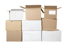 Brown and white different cardboard boxes Royalty Free Stock Photo