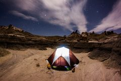 Brown and White Dome Tent at Nighttime Royalty Free Stock Photography