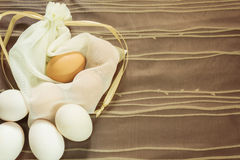 Brown and white egg on the fabric background for easter day. Stock Image
