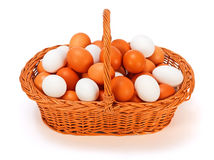 Brown and white eggs Stock Photos