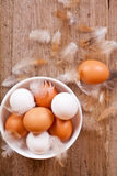 Brown and white eggs in a bowl Royalty Free Stock Image
