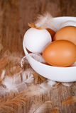 Brown and white eggs in a bowl Royalty Free Stock Photos