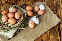 Brown and white eggs close-up royalty free stock photo