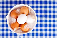 Brown and white eggs, feathers in a bowl Royalty Free Stock Photography