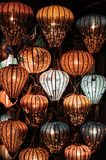 Brown and White Floral Print Lanterns royalty free stock photography