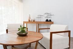 Brown white furniture in a living room Stock Photos