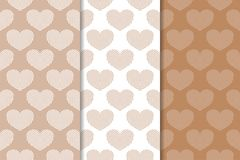 Brown and white hearts as seamless patterns. Romantic vertical backgrounds. Vector illustration stock illustration