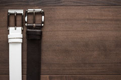 Brown and white leather belts Royalty Free Stock Photos
