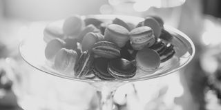 Brown and white macaron cookies stock image