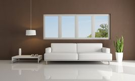 Brown and white modern living room Royalty Free Stock Images