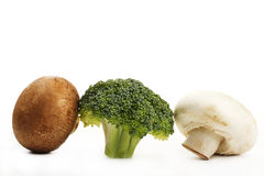 Brown, white mushroom and one broccoli Royalty Free Stock Photography