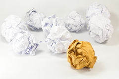 Brown and white paper balls selective focus with shallow depth o Royalty Free Stock Photo